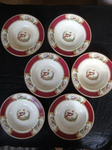 Royal Crown Staffordshire 6 x Myotts Dishes