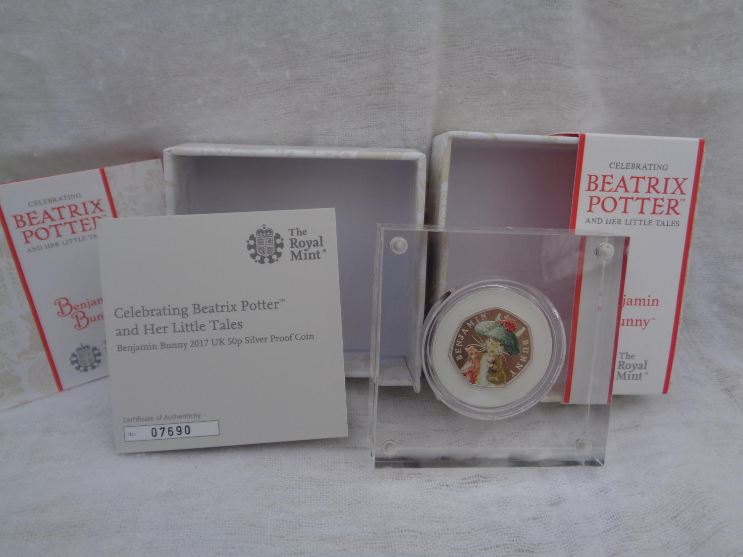 Beatrix Potter Benjamin Bunny Coloured Silver Proof 50pence