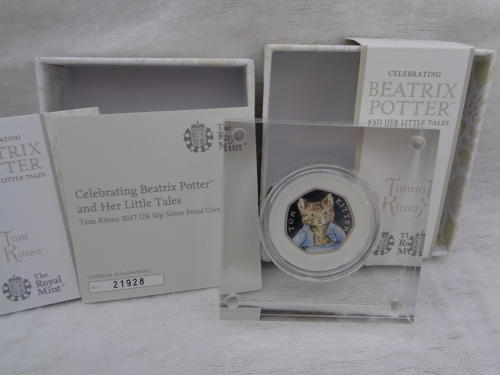 Beatrix Potter Tom Kitten Coloured Silver Proof 50pence