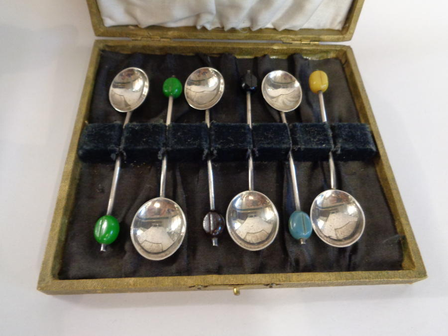 Silver Coffee Bean Spoons (Six)