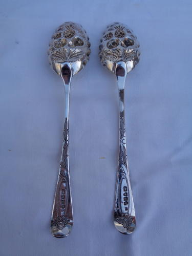 Solid Silver Antique Berry Spoons