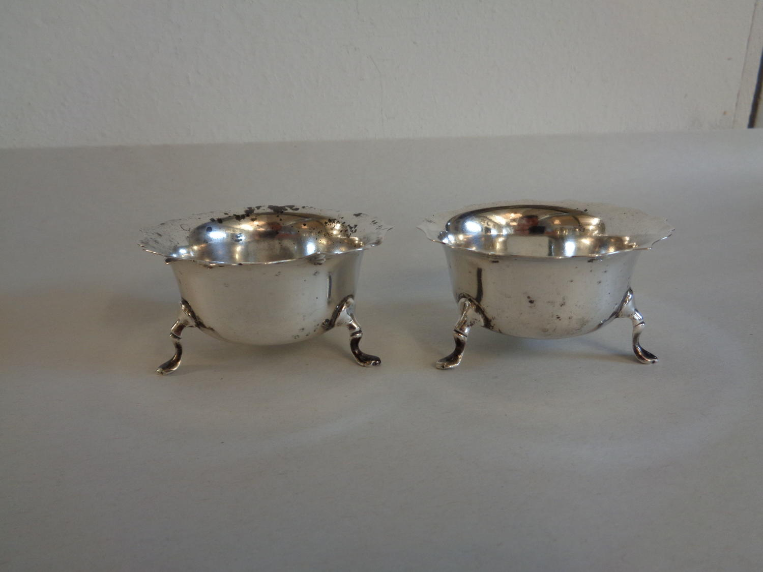 Solid Silver Pair of Salts