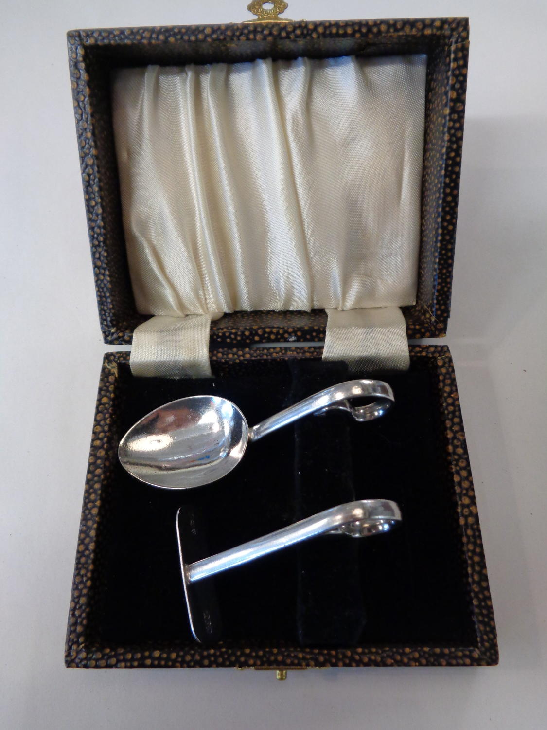 Solid Silver Christening Spoon & Pusher Set