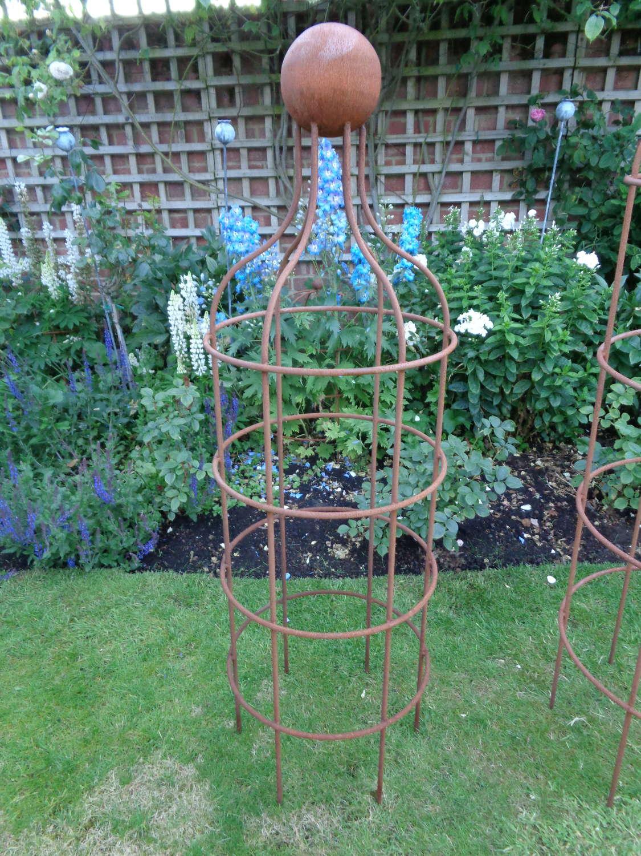 Garden Metal Bottle Obelisk Plant Support