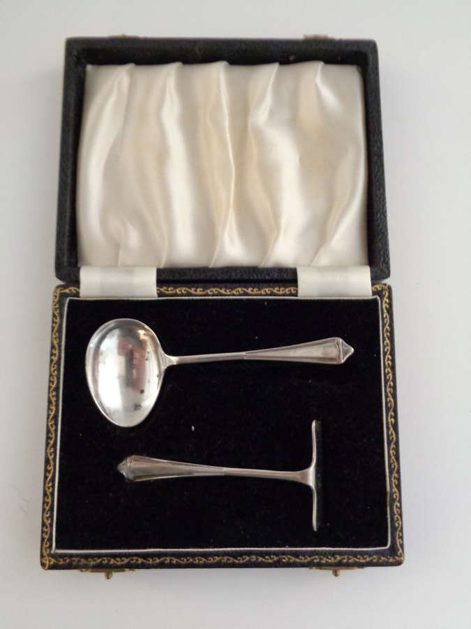 Solid Silver Christening Set - Pusher & Spoon