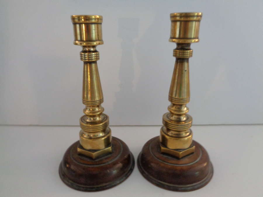 Antique Brass Trench Art & Bakelite Candlesticks