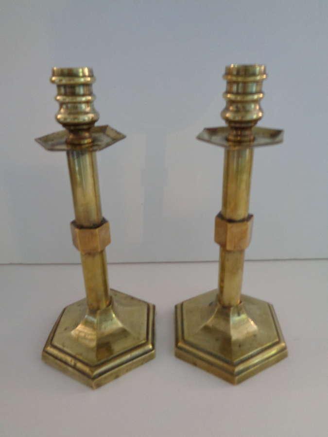 Antique Pair Brass Candlesticks