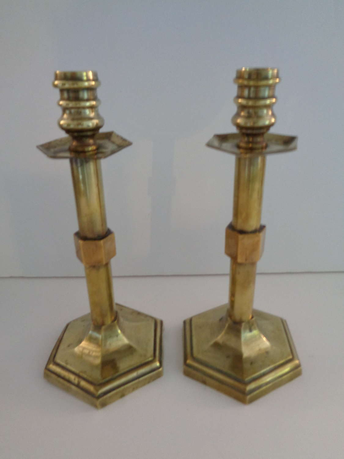 Antique Pair Brass Candlesticks