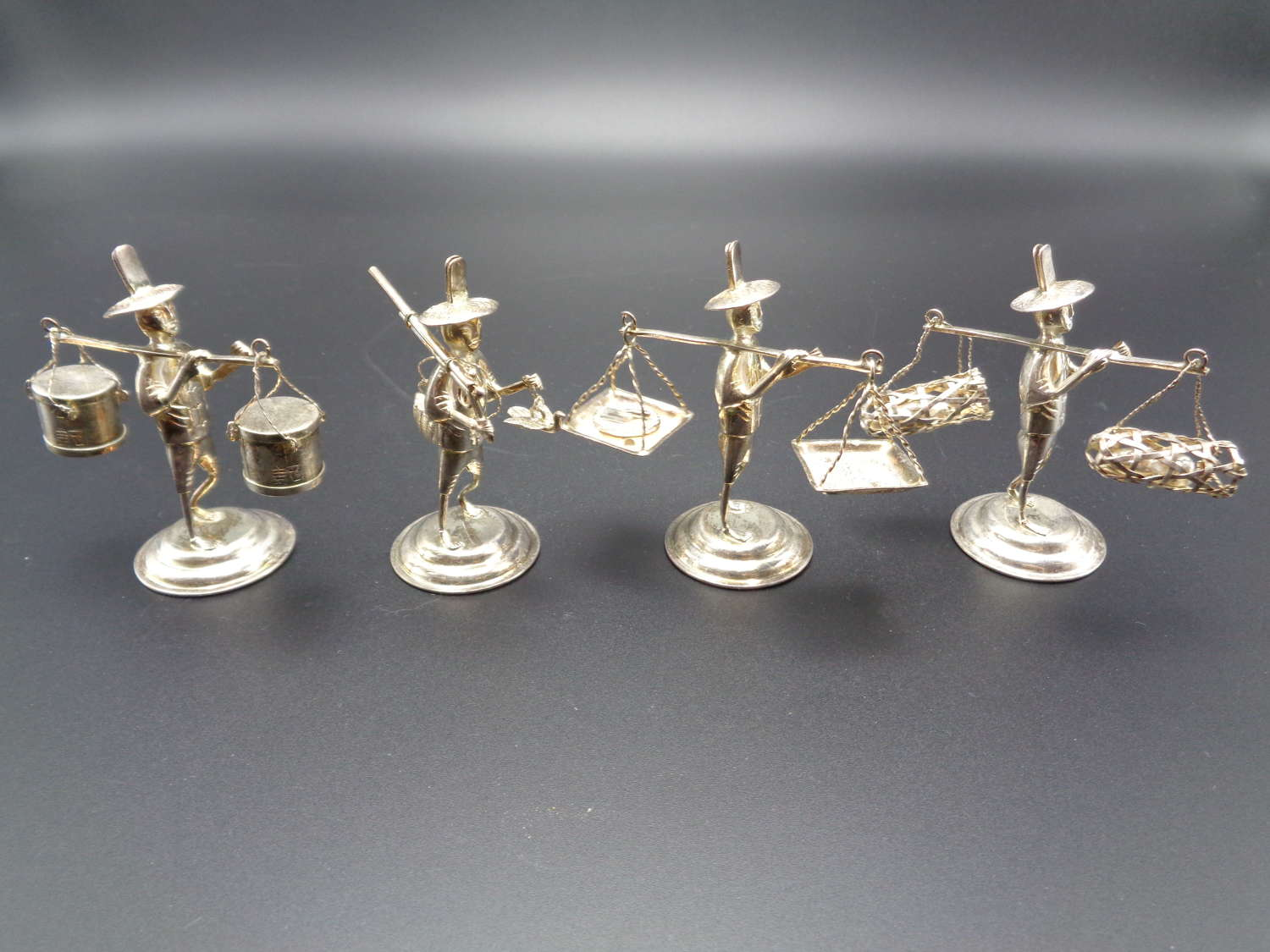 Chinese Sterling Silver Place Card Holders