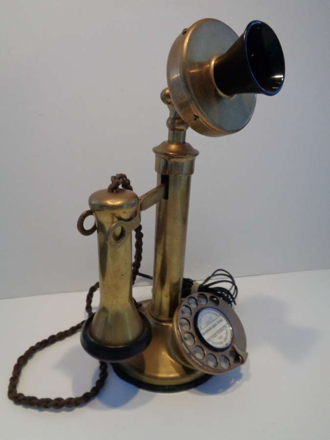 Early 20th Century Brass Candlestick Telephone