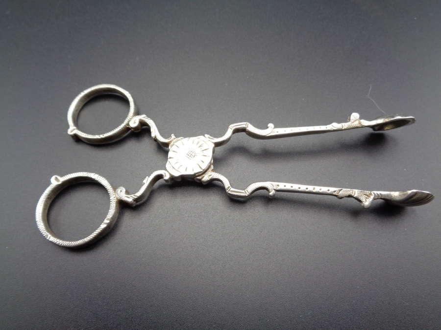Victorian Solid Silver Sugar Tongs / Nips
