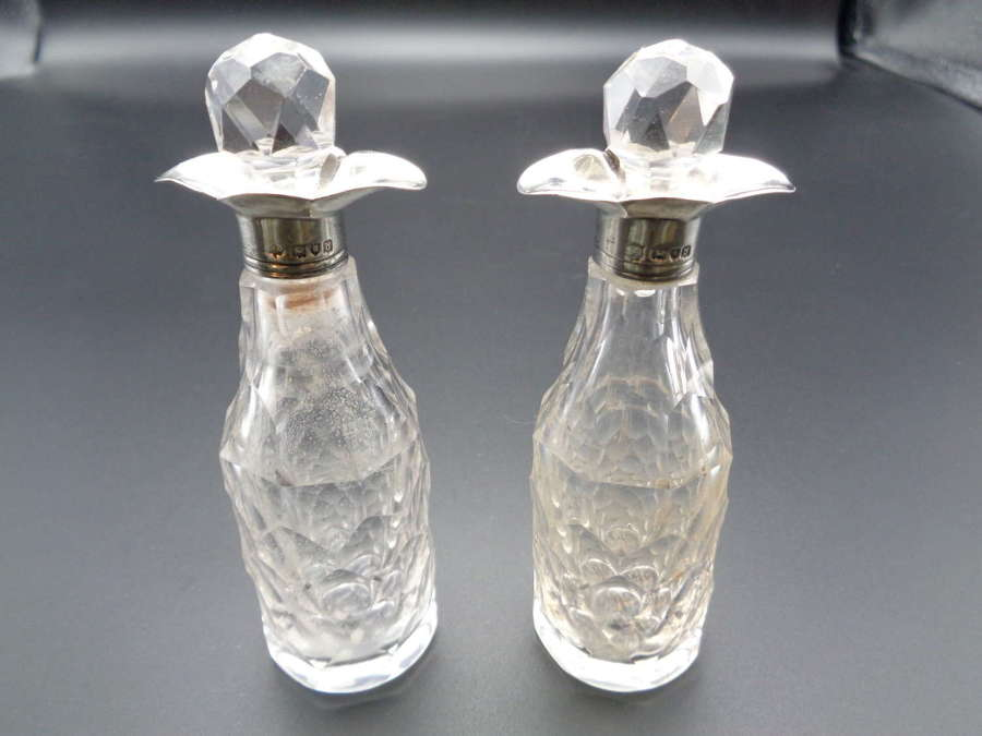 Victorian Pair Silver Collared Scent Bottles