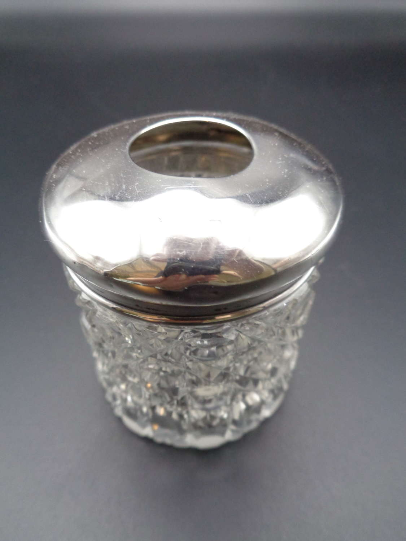 Edwardian Solid Silver Topped Cut Glass Jar / Hair Tidy