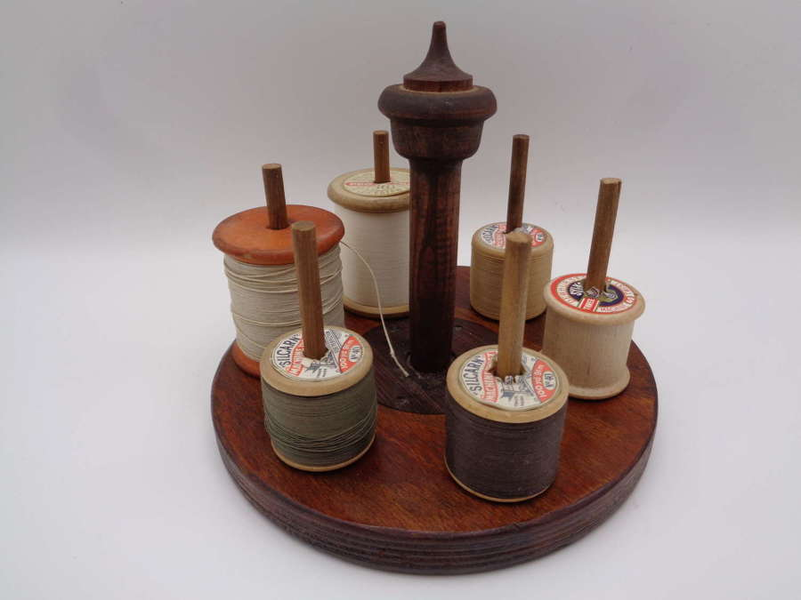 Antique Bobbin Stand / Holder - Cotton Reels