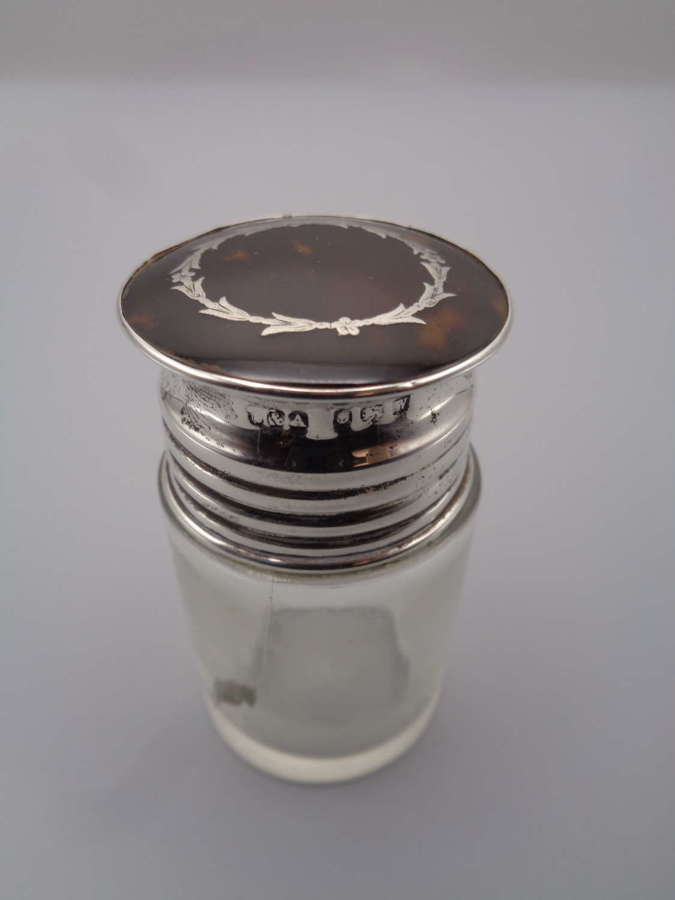 Solid Silver & Tortoiseshell Screw Top Scent Bottle