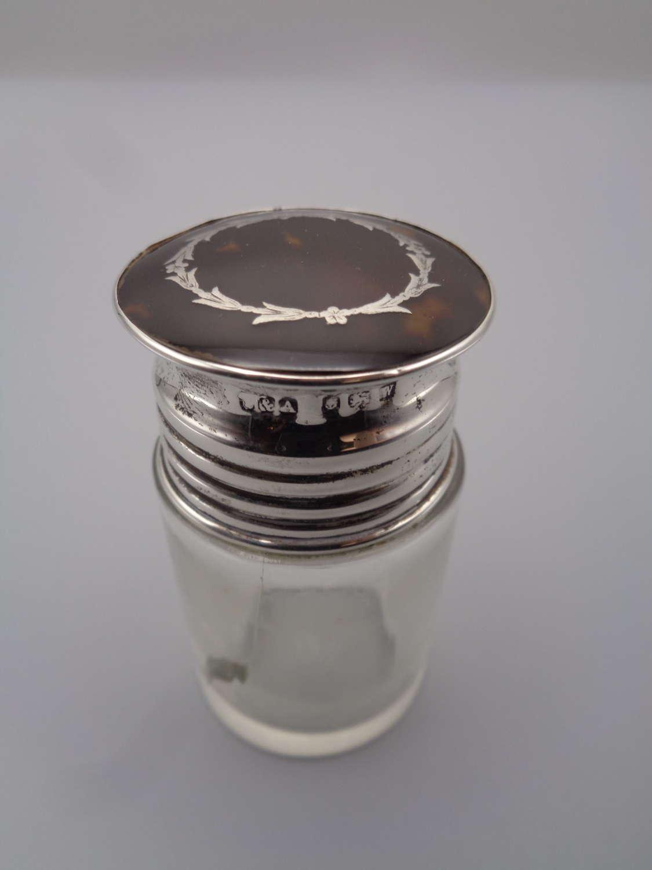 Solid Silver & Tortoiseshell Screw Top Scent Bottle
