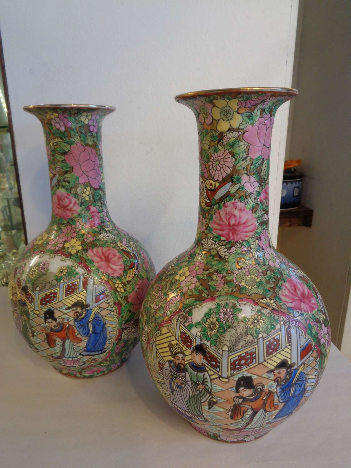 Chinese 'Famille Rose' Vases (Pair)