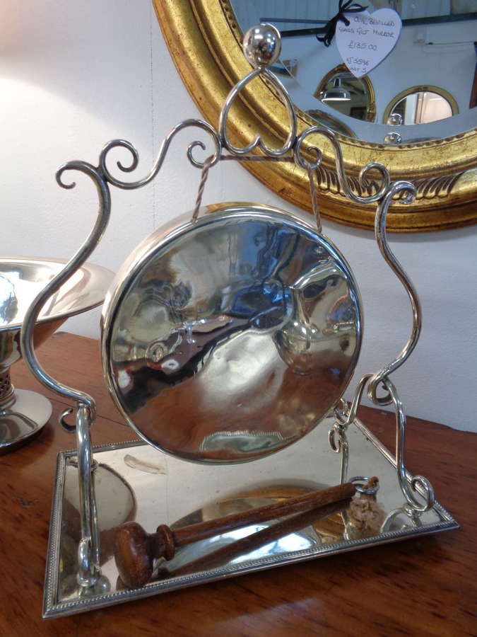 Antique Silver Plate Gong with Wooden Striker