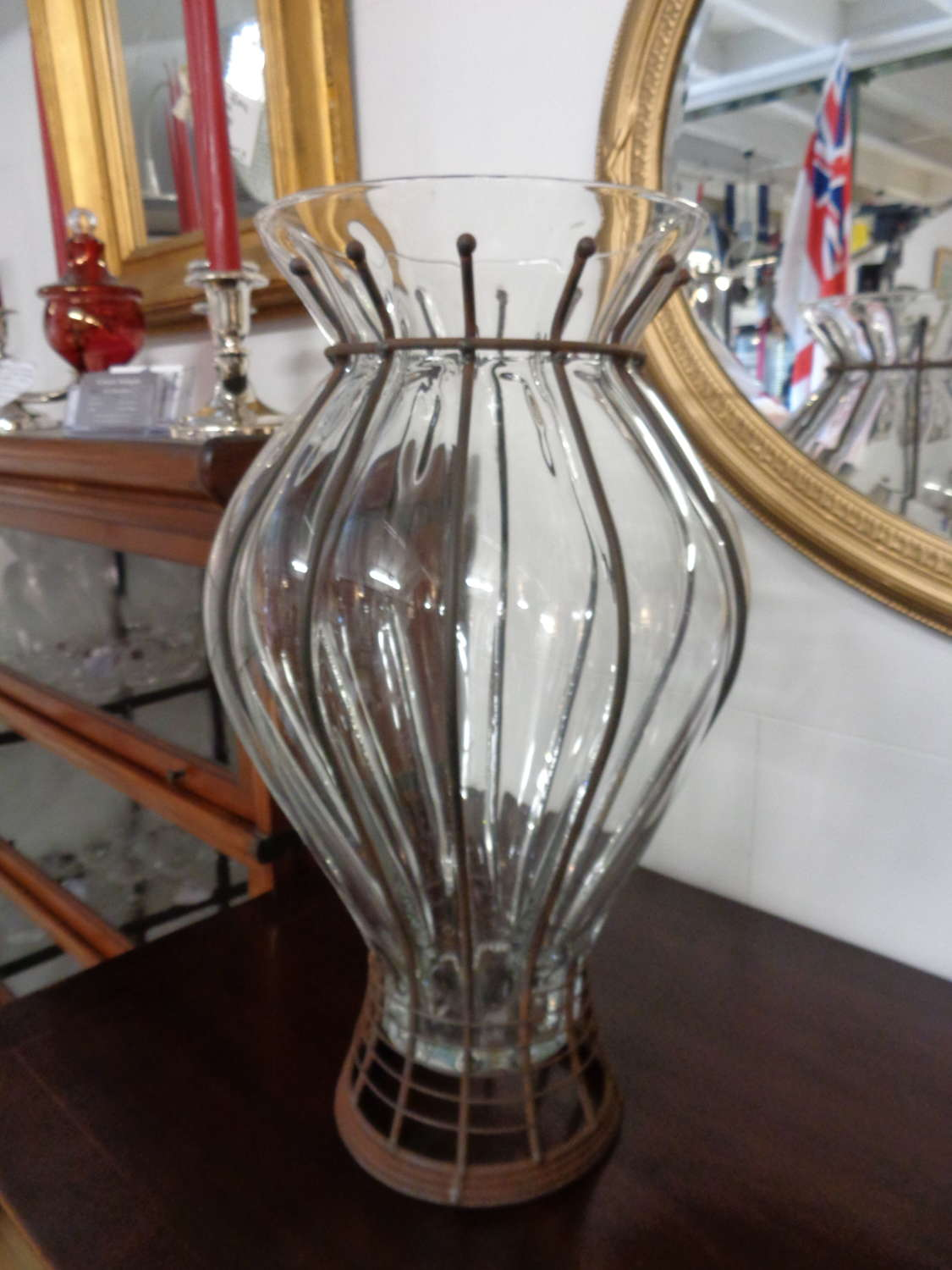 Hand Blown Glass & Metal Vase