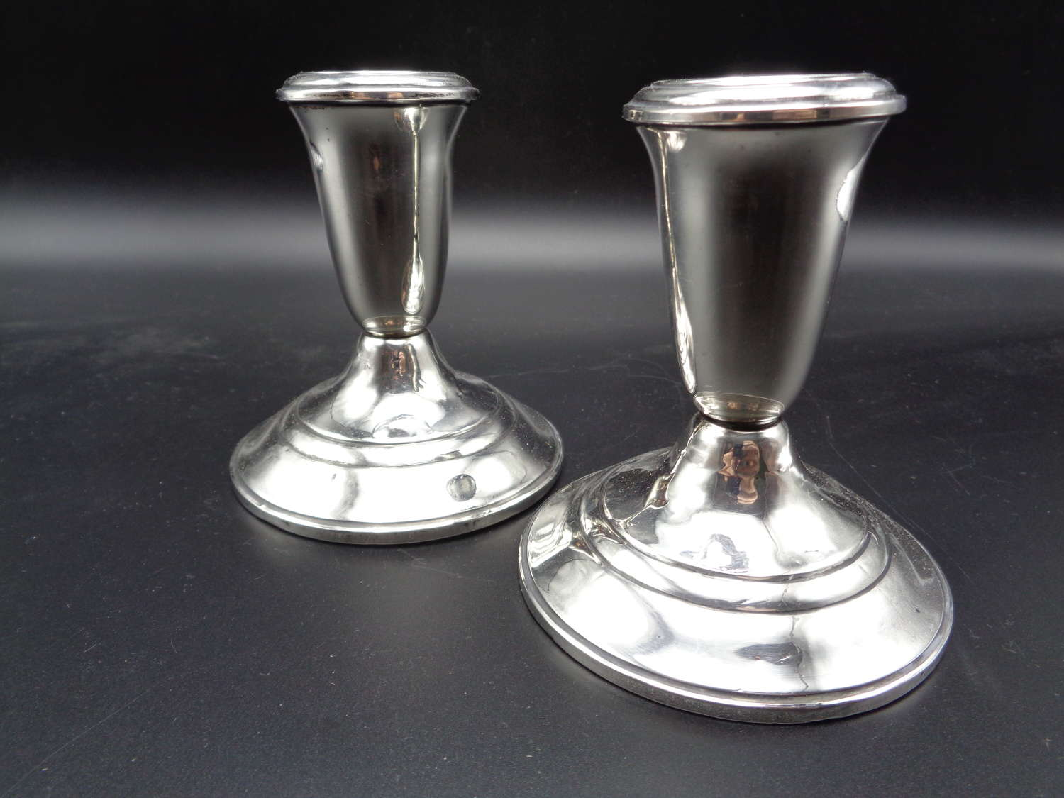 Pair Sterling Silver Candlesticks 'Crown'
