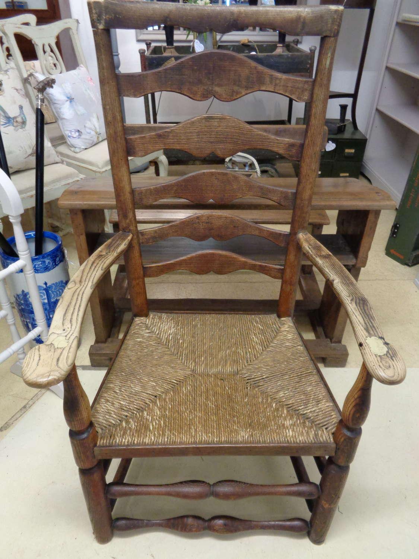 Georgian Ash Armchair with Rush Seat