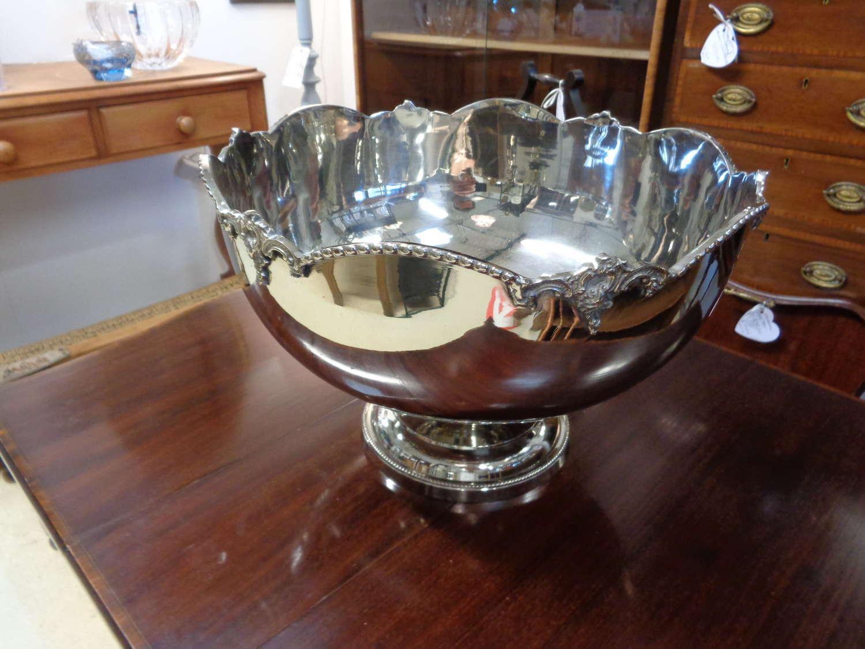 Elegant Silver Plate Heavy Punchbowl
