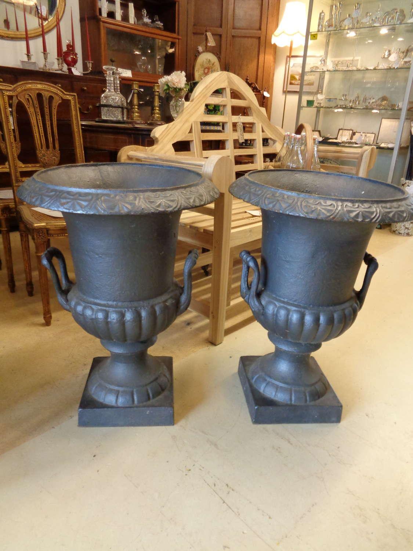 Antique Cast Iron Garden Urns / Planters (Pair)