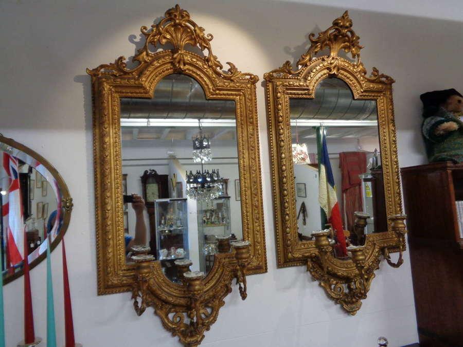 Pair 19th Century Gilt Gesso Mirrors