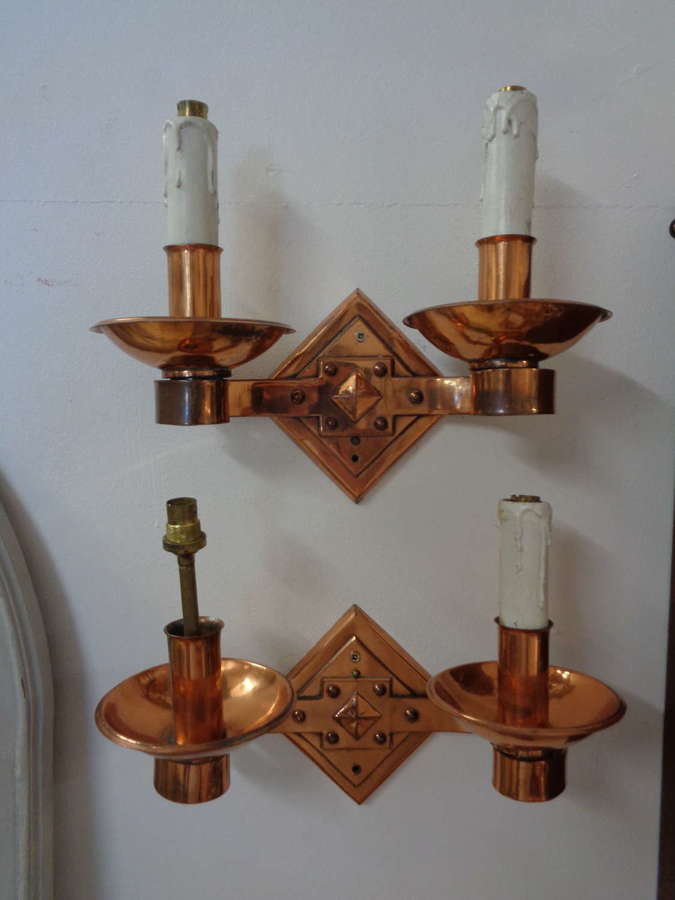 Vintage Copper Wall Lights (Pair)