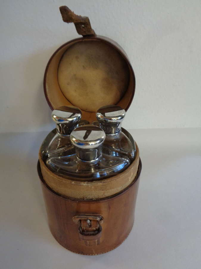 Antique Silver Topped Scent Bottles in Leather Case