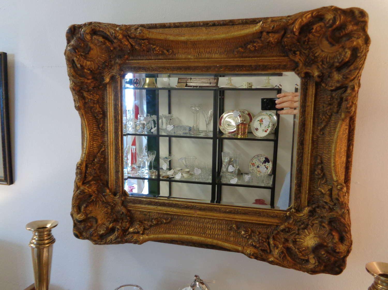 Antique Heavy Gilt Bevelled Mirror