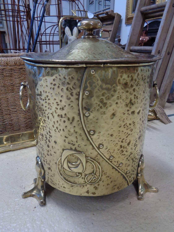 Art Nouveau Brass Coal Bucket, Lid & Original Liner