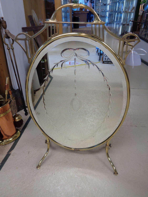 Art Nouveau Brass & Mirrored Oval Fire Guard