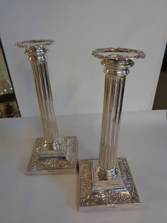 Antique Silver Candlesticks - Sheffield 1901
