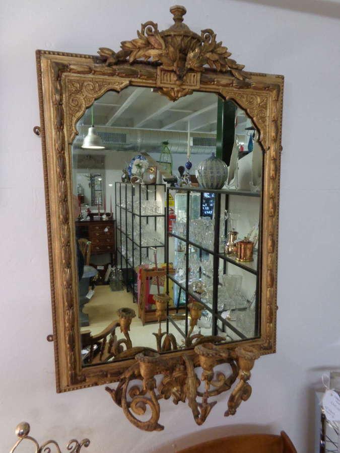 19th Century Gilt Gesso Girondelle Mirror