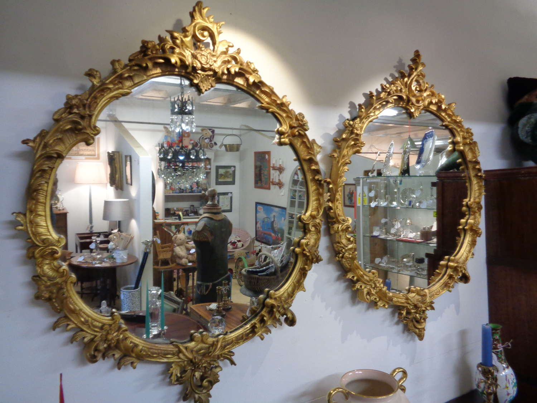 Pair Antique Gilt Gesso Ornate Round Mirrors