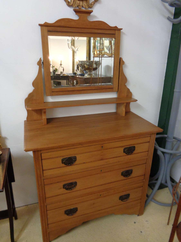 Satinwood Dresser with 3 Drawers & Mirror