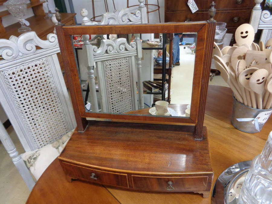 19th Century Mahogany Table Top Mirror with Drawers