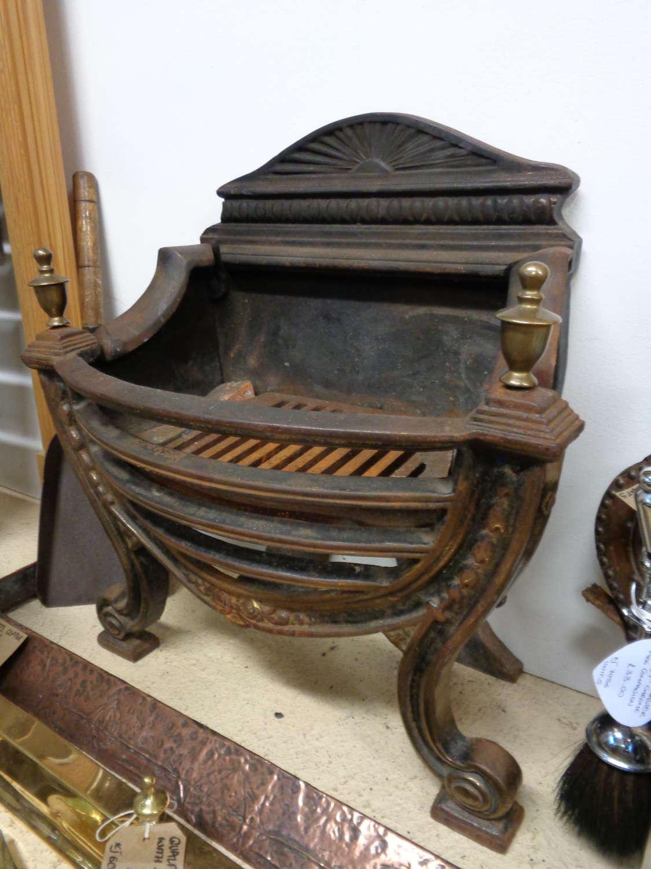 Antique Wrought Iron & Brass Fire Basket