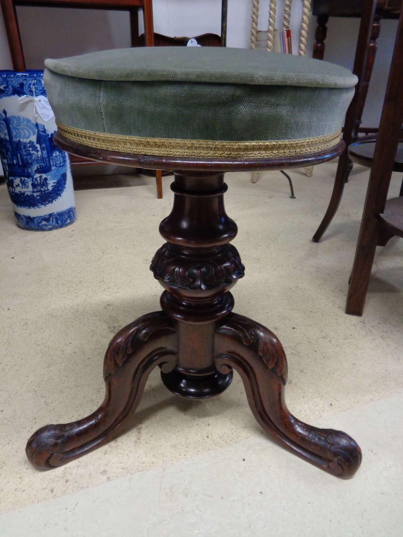 Antique Victorian Mahogany Piano Stool