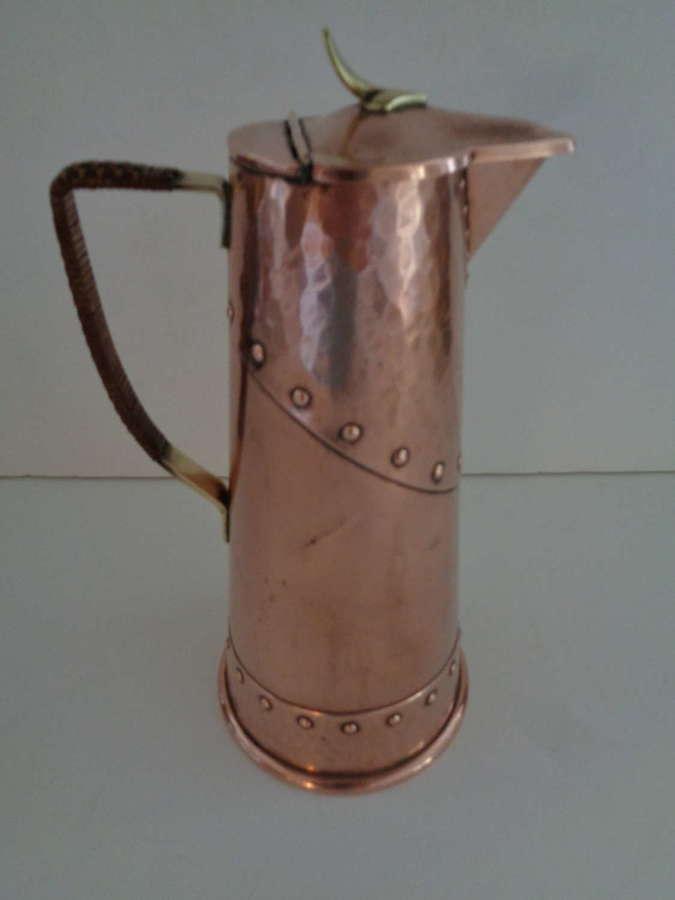 WMF Art Nouveau Copper & Brass Lidded Jug / Ewer c1910